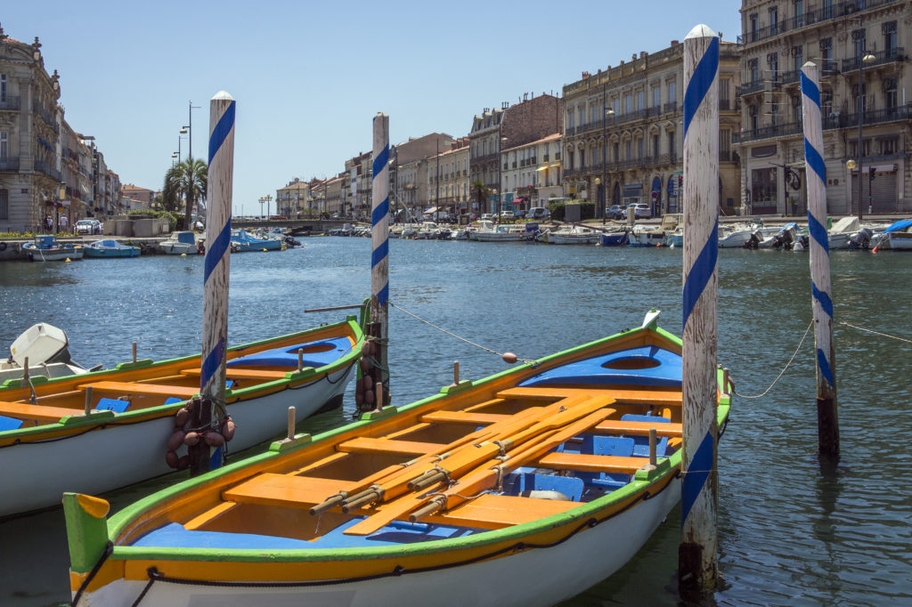 The Canal Royal in the coastal town of Sete in the Languedoc-Roussillon region of the South of France. Sete is a port and a sea-side resort on the Mediterranean Sea with its own very strong cultural identity, traditions, cuisine and dialect.